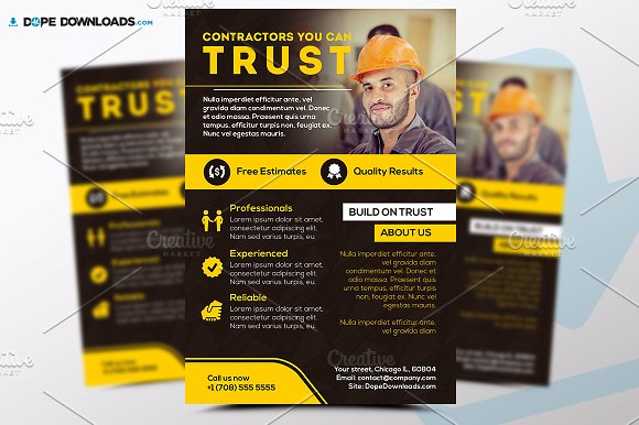 contractors flyer template flyer templates creative market