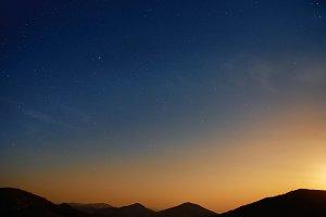 Mountains and dark night sky