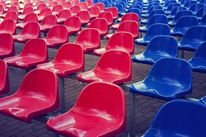 Red and blue stadium seats