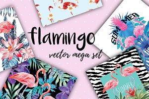flamingo vector mega set