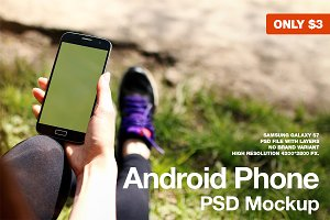 Android Phone Sport PSD Mockup