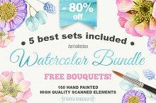-80% OFF Big Watercolor Bundle
