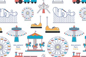 Amusement Park icons pattern