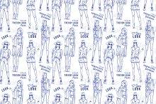 Fashion pattern. Trendy look girls