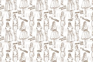 Fashion pattern. Trendy look girls