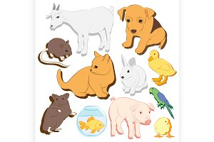 pets vector colorful icons set