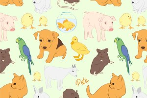 pets vector colorful pattern
