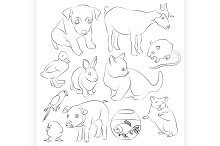 Animals pets vector icons set