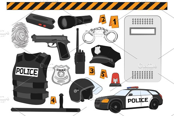 Police. Safety concept - Illustrations