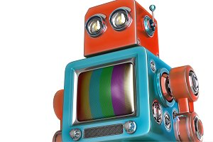 Robot with TV screen. Isolated. Contains clipping path
