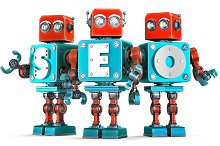 Group of vintage robots with SEO sign. SEO optimization concept. Isolated. Contains clipping path