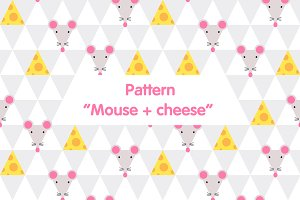 Mouse and cheese, seamless pattern