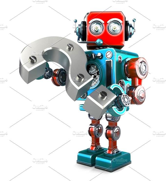 Retro robot with question mark. Isolated. Contains clipping path - Technology