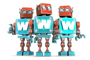 Group of vintage robots with WWW sign. Technology concept. Isolated. Contains clipping path