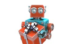 Vintage robot with gift box.