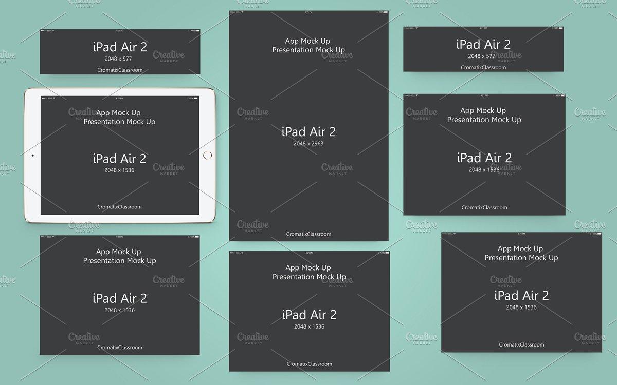 app presentation mock up ipad air 2 product mockups creative market. Black Bedroom Furniture Sets. Home Design Ideas