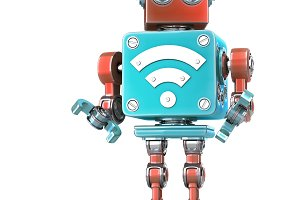 Vintage robot with Wi-Fi sign.