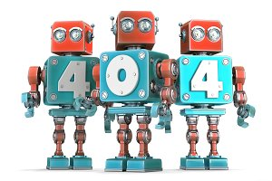 Group of robots with 404 sign