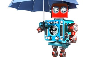 Vintage Robot with umbrella. Isolated. Contains clipping path