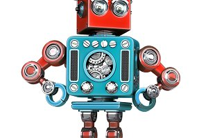 Graduation Retro Robot. Isolated. Contains clipping path