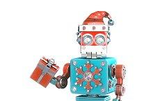 Robot Santa with gift box