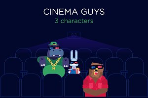 Set of 3 characters in cinema