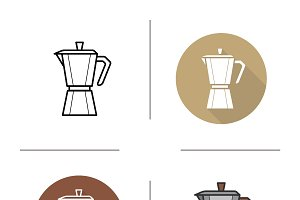 Classic coffee maker icons. Vector