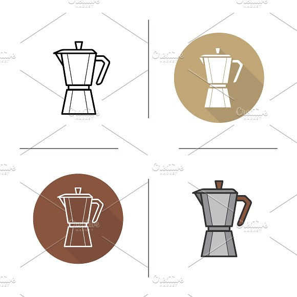Classic Coffee Maker Icons Vector