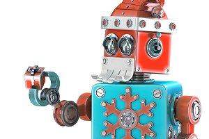 Robot Santa holding gift box