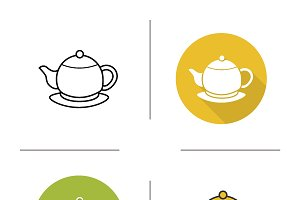 Tea pot icons. Vector