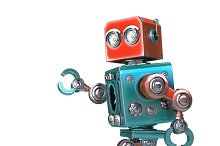 Walking Robot. Isolated. Contains clipping path