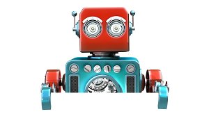 Retro robot with blank board