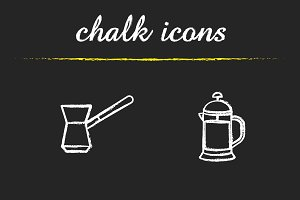 Coffee brewing icons. Vector