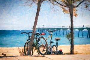 Sunny day at beach with parked bikes