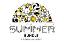 Summer bundle. Vector elements.