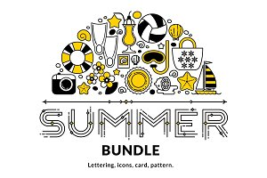 Summer bundle. Vector elements.