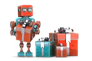 Robot with gift boxes. Isolated. Contains clipping path.