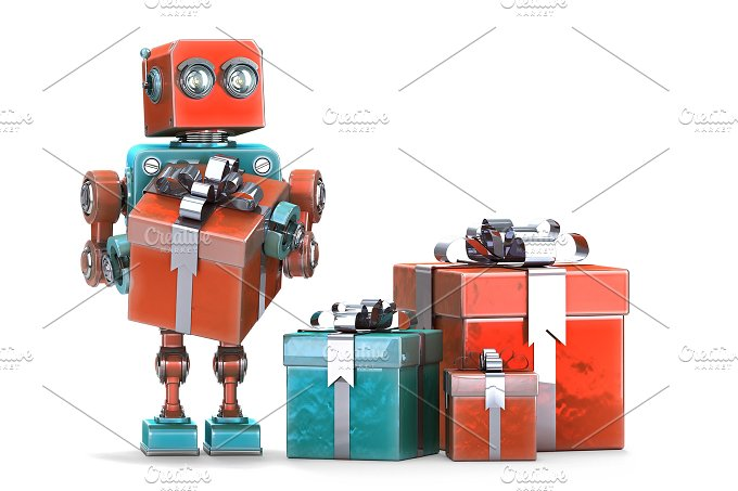 Robot with gift boxes. Isolated. Contains clipping path. - Technology
