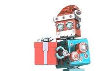 Robot Santa walking with gift