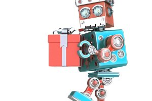 Robot Santa walking with gift