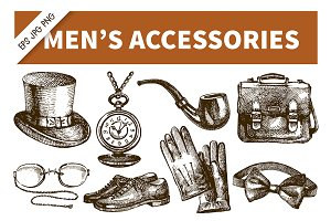 Hand Drawn Men's Accessories Set