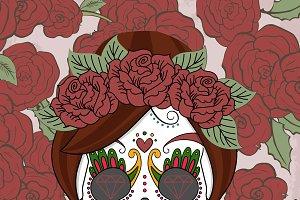Women sugar skull with roses
