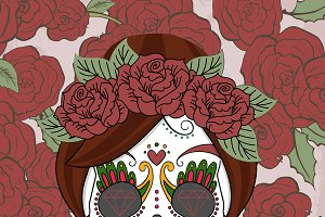 Women sugar skull with roses