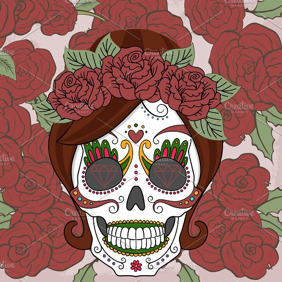 women sugar skull with roses illustrations