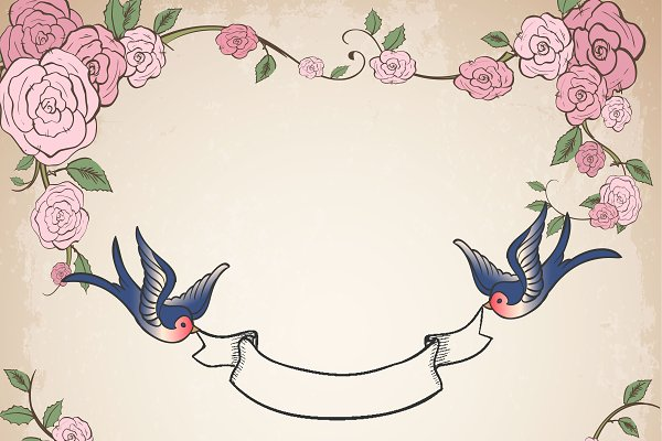 Frame with swallows and roses