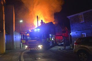 Fire Engine Attending Building Blaze