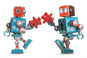 Robots assembling puzzle pieces
