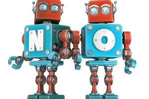 Group of Retro Robots with NO sign.
