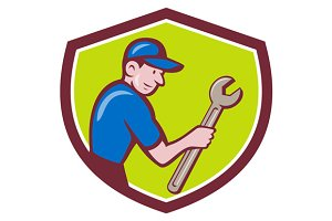 Handyman Holding Spanner Crest