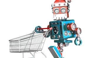 Robot Santa with shopping cart